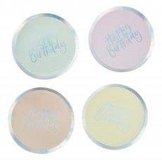 Round Pastel Party Happy Birthday Banquet Plates 26cm Pack of 8