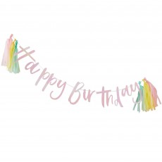 Pastel Party Happy Birthday Banner