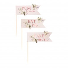 Lets Par Tea Floral Food Picks Cake Toppers