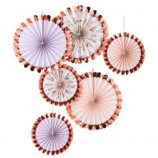 Lets Par Tea Pink & Floral Fan Hanging Decorations Pack of 6