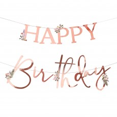 Rose Gold Lets Par Tea Happy Birthday Banner 2m
