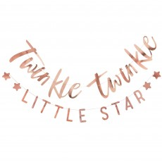 Rose Gold Bunting Twinkle Twinkle Little Star Banners 1.5m Pack of 2