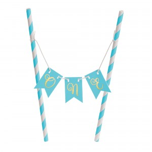 Boy's 1st Birthday Blue Mini Pennant Banner & Mini Cake Stand