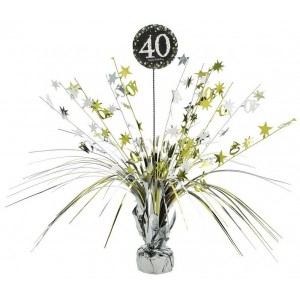 40th Birthday Black, Gold & Silver Sparkling Centrepiece