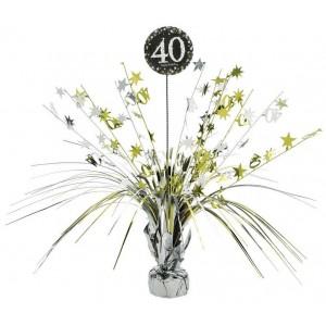 40th Birthday Black, Silver & Gold Sparkling Celebration Spray Centrepiece