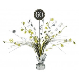 60th Birthday Black, Gold & Silver Sparkling Centrepiece