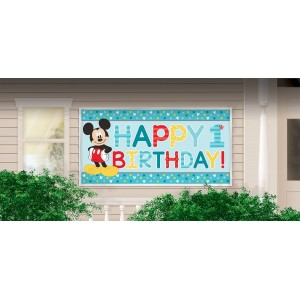 Mickey Mouse 1st Birthday Fun To Be One Horizontal Giant Sign Banner