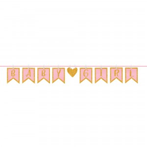 Baby Shower - General Girl Clothespin Glittered Letter Banner