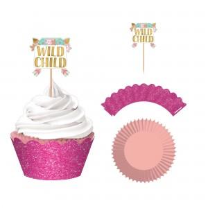 Boho Girl Glittered Cupcake Cases