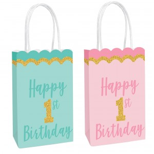 Girl's 1st Birthday Glittered Kraft Favour Bags
