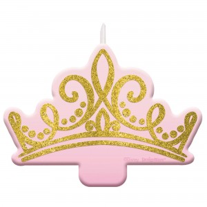 Disney Princess Once Upon A Time Glittered Crown Candle
