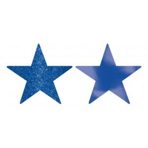 Blue Bright Royal Foil & Glitter Star Cutouts
