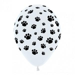 Dog Black & White Animal Paw Prints Latex Balloons