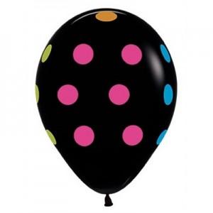 Dots & Stripes Neon Polka Dots on Black Latex Balloons