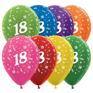 18th Birthday Metallic Multi Coloured  Latex Balloons