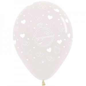 Engagement Crystal Clear  Latex Balloons