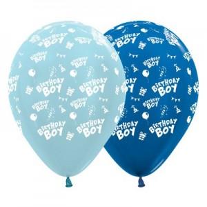 Happy Birthday Blue & Metallic Dark Blue  Latex Balloons