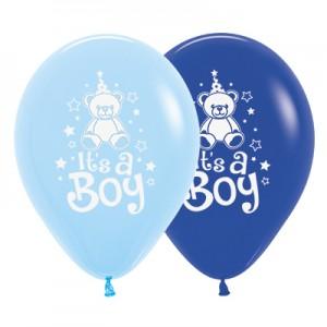 Baby Shower - General Fashion Royal Blue & Light Blue Teddy Latex Balloons