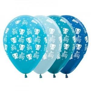 Boy's 1st Birthday Satin Pearl & Metallic Blue Elephants Latex Balloons