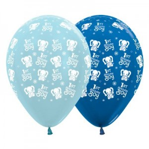 Boy's 1st Birthday Satin Pearl Blue & Metallic Blue Elephants Latex Balloons
