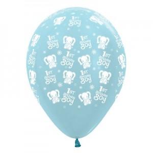 Boy's 1st Birthday Satin Pearl Blue Elephants Latex Balloons