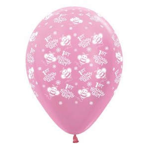 Girl's 1st Birthday Satin Pearl Pink Bumble Bees Latex Balloons