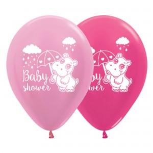 Baby Shower - General Satin Pearl Pink & Metallic Fuchsia Hippo Latex Balloons