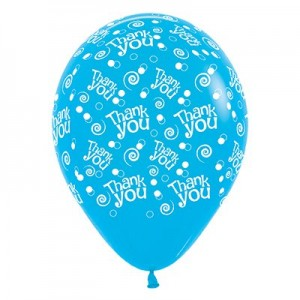 Thank You Fashion Blue Swirls & Dots Latex Balloons