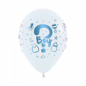 Gender Reveal Fashion White METALink Guess Latex Balloons
