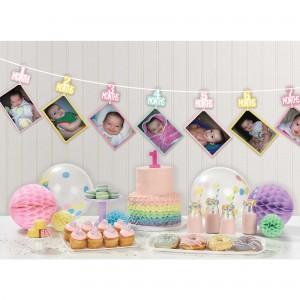 Girl's 1st Birthday Photo Ribbon Garland