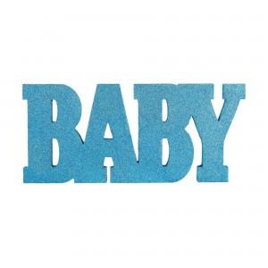 Baby Shower - General Blue Standing MDF Glittered Sign Misc Decoration