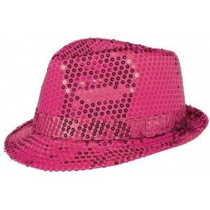 Pink Hot Fedora Sequin hat Head Accessorie