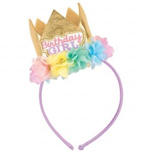 Happy Birthday Fabric Headband with Crown Head Accessorie