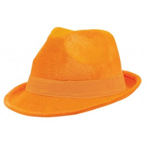 Orange Velour Fedora Hat Head Accessorie