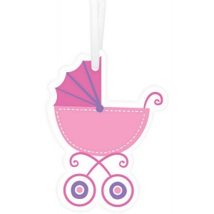 Baby Shower - General Pink Baby Buggy Paper Tags Misc Accessories