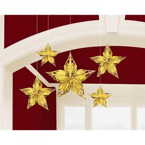 Glitz & Glam Metallic Gold Stars Hanging Decorations