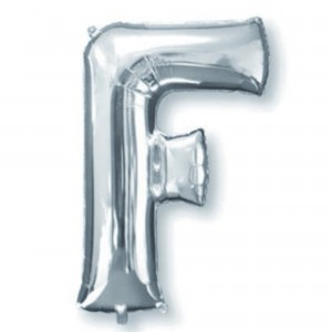 Letter F Silver SuperShape Shaped Balloon