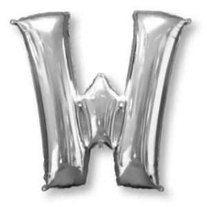 Letter W Silver Helium Saver Foil Balloon