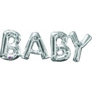 Baby Shower - General Silver CI: Script Phrase Shaped Balloon