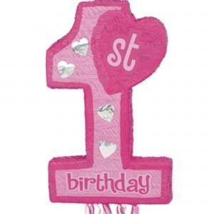 Girl's 1st Birthday Pink  Pinata