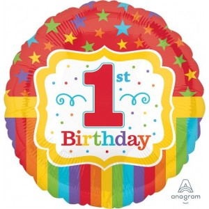 Boy's 1st Birthday Standard HX Rainbow Foil Balloon