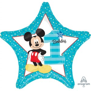 Mickey Mouse 1st Birthday Standard HX Shaped Balloon