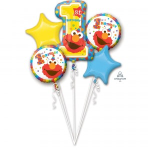 Elmo Turns One Sesame Street 1st Birthday Bouquet Foil Balloons