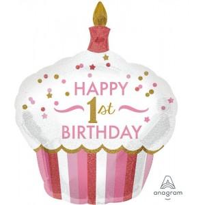 Girl's 1st Birthday Cupcake Foil Balloon