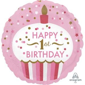 Girl's 1st Birthday Standard HX Cupcake Foil Balloon