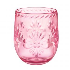 Boho Vibes Pink Floral Stemless Wine Glass Plastic Glasse