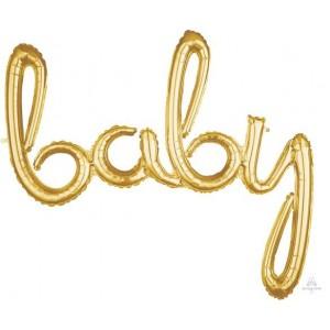 Baby Shower - General Gold CI: Script Phrase Foil Balloon