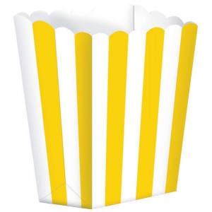 Stripes Sunshine Yellow & White Small Popcorn Favour Boxes