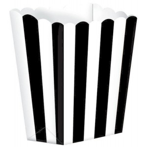 Stripes Black & White Small Popcorn Favour Boxes