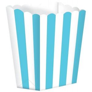 Stripes Caribbean Blue & White Small Popcorn Favour Boxes
